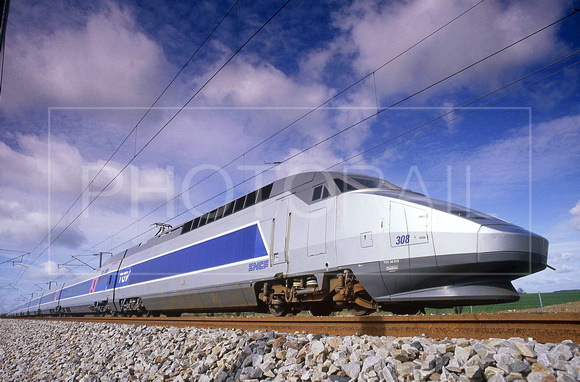 MOTRICES TGV A RAME 308 , 01/03/1989 FRANCE