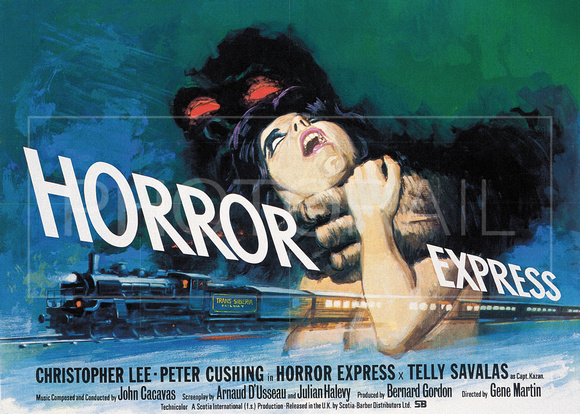 "L'affiche de ""Horror Express"", film américain avec Christopher Lee, Peter Cushing et Telly Savalas. L'intrigue fantastique se passe essentiellement dans le Transsibérien."