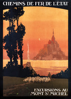 "Affiche :  "" Excursions au Mont Saint-Michel """
